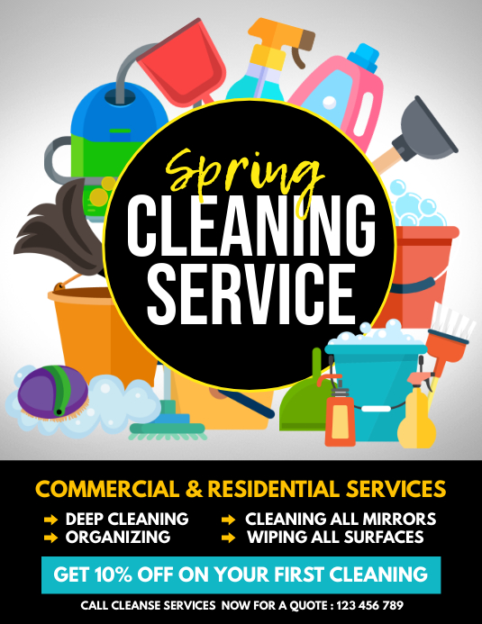 spring, spring cleaning service Pamflet (Letter AS) template