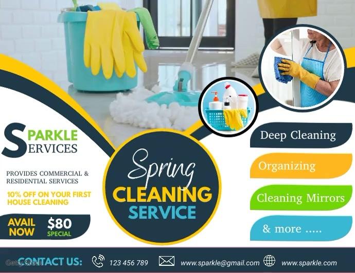 spring, spring cleaning service Folder (US Letter) template