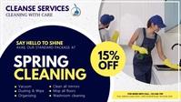 spring, spring cleaning service video Видеообложка профиля Facebook (16:9) template