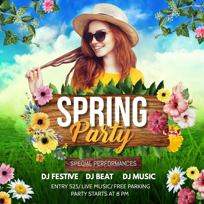 Spring, spring party, spring break Publicación de Instagram template