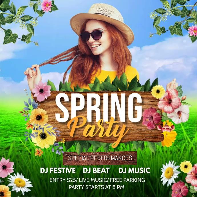 Spring, spring party, spring break Instagram-bericht template