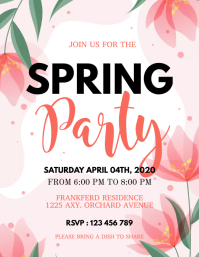 Spring, spring party, spring break Flyer (format US Letter) template