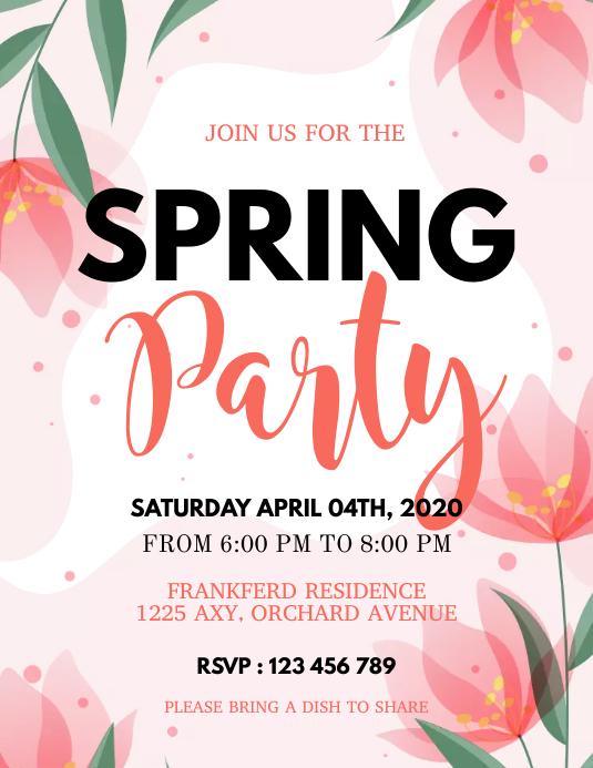 Spring, spring party, spring break Flyer (format US Letter) template