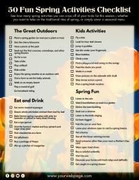 Spring Activities Checklist 2021 Template Volante (Carta US)