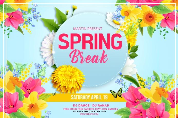 Spring Break Banner Template Bannière 4' × 6'