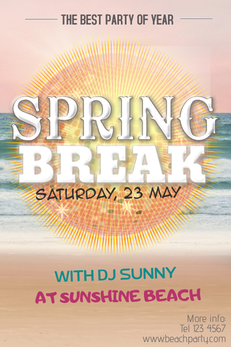 spring break beach party florida poster template