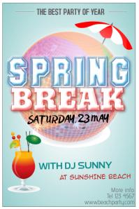 spring break beach party florida poster template