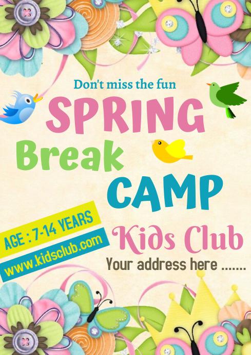 Spring Break Camp A 4 size A4 template