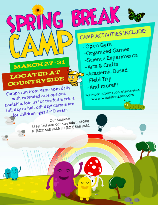Spring Break Camp Flyer