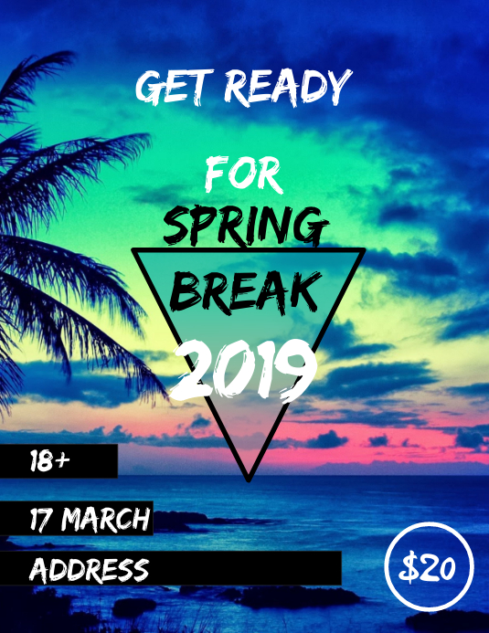 spring break Folheto (US Letter) template