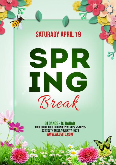 Spring Break Flyer Template Design A4