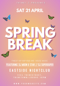 Spring Break Party Event Club Bar Advert Prom A4 template