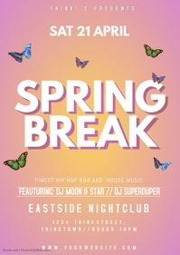 Spring Break Party Event Club Bar Advert Promo Poster Rosa