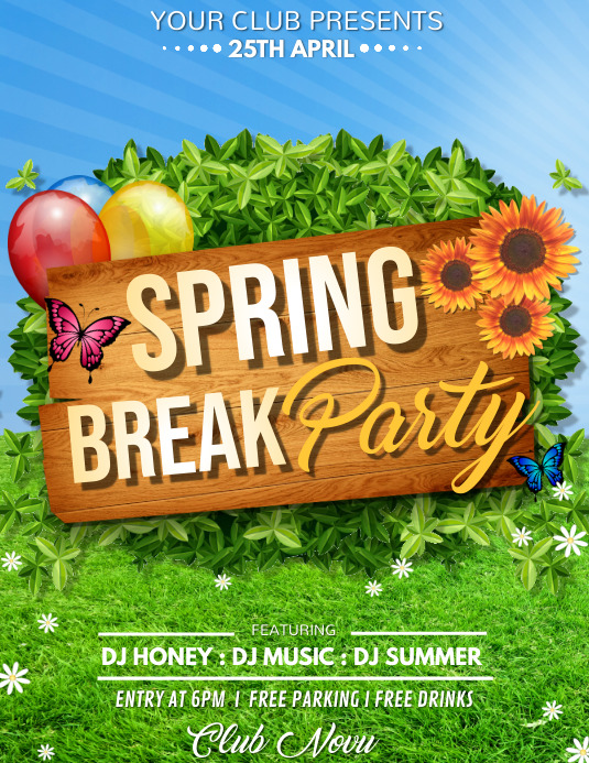Spring Break Party Flyer, Spring, Spring Break ใบปลิว (US Letter) template