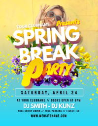 Spring Break Party Flyer 传单(美国信函) template