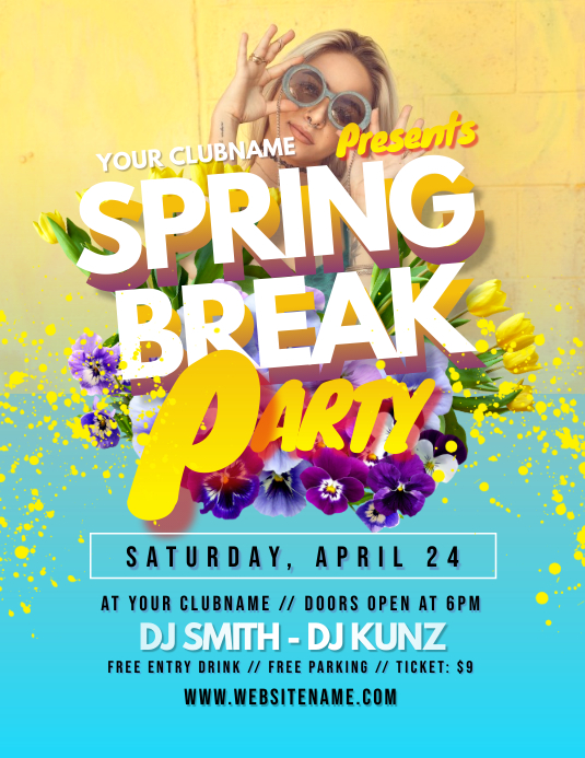 Spring Break Party Flyer Folder (US Letter) template