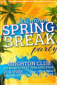 Spring Break Party Poster template
