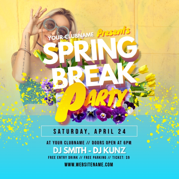 Spring Break Party Instagram Post Instagram-bericht template