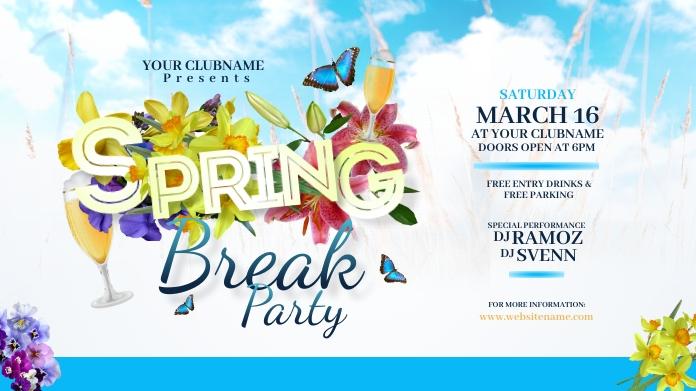 Spring Break Party Twitter Post Twitter-bericht template