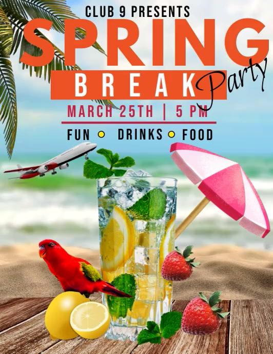 Spring break party video template Volante (Carta US)