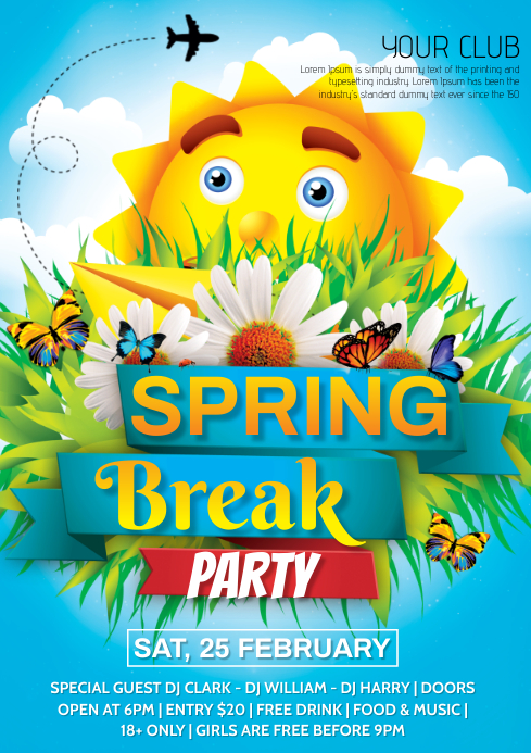 spring break poster A4 template
