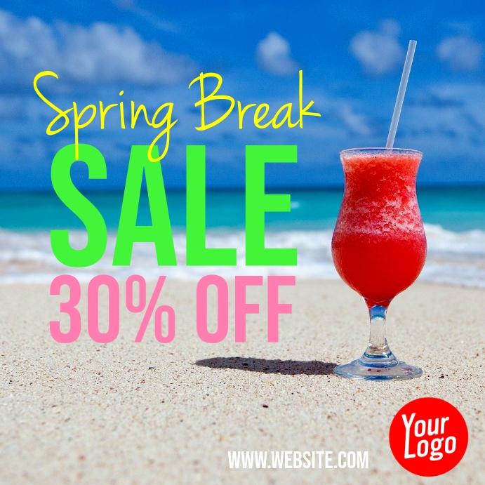 Spring Break Sale 30% Off Instagram Ad template
