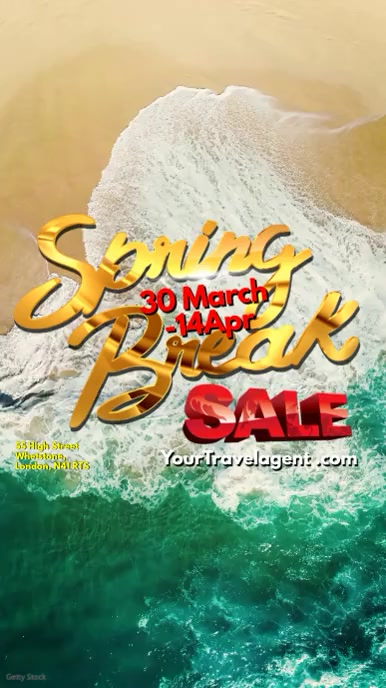Spring Break Sale Video Tampilan Digital (9:16) template
