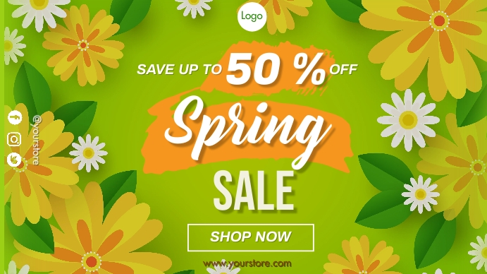 Spring Break Sales 数字显示屏 (16:9) template