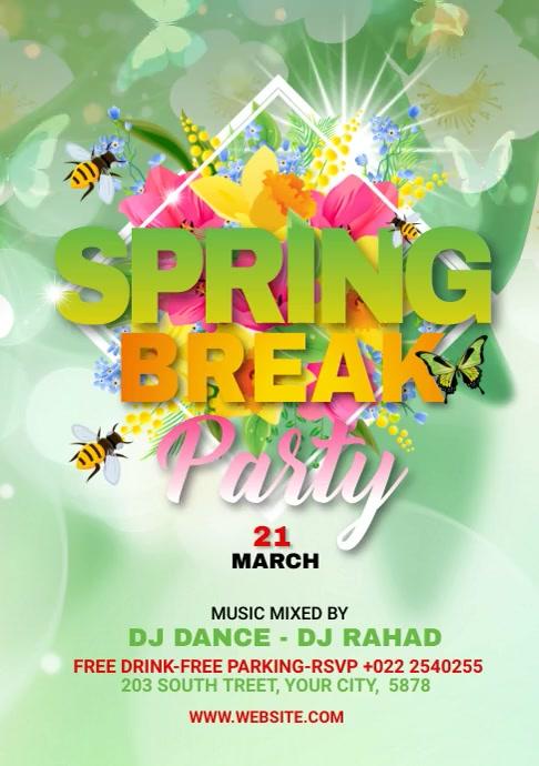 Spring Break Video Ads A4 template