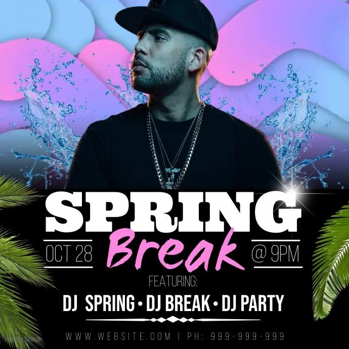 Spring Break Video Poster Instagram-opslag template