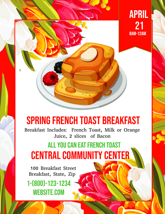 spring breakfast event flyer customize template