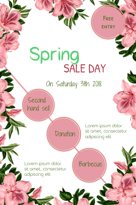 Spring sale day Poster template