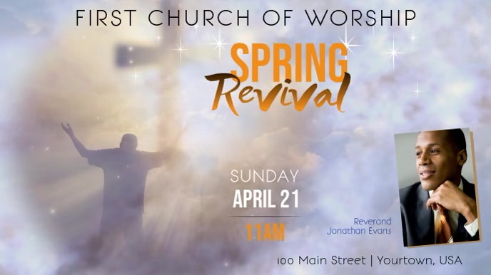 Spring Church Revival Event Display video Digitalanzeige (16:9) template
