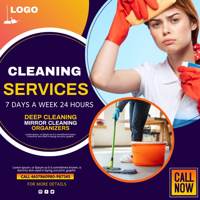 spring cleaning, cleaning services Kwadrat (1:1) template