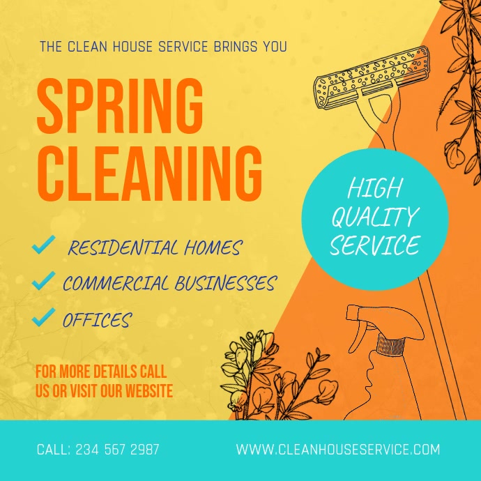 Spring Cleaning Ad Professional Services Square Video Persegi (1:1) template