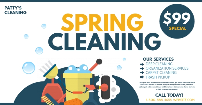 Spring cleaning delt Facebook-billede template