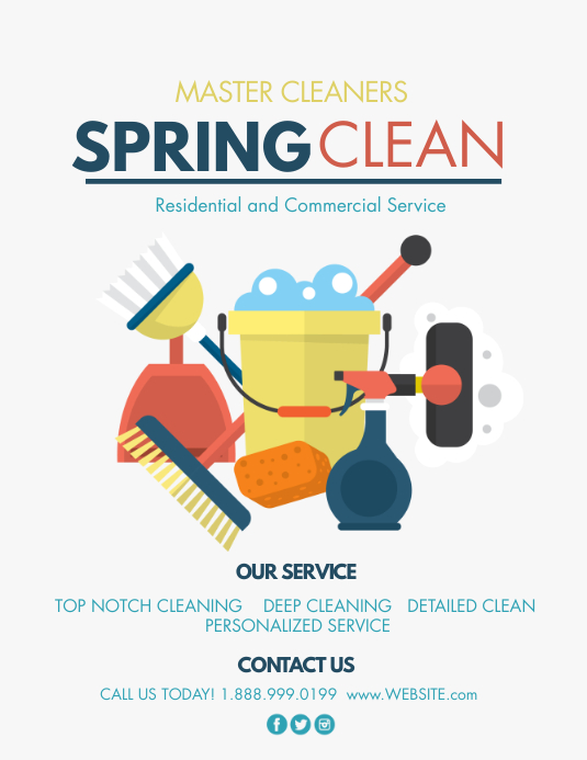 Spring cleaning Flyer (format US Letter) template