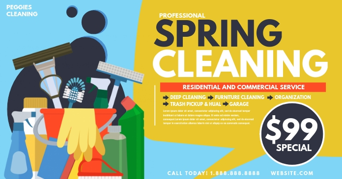 Spring cleaning Obraz udostępniany na Facebooku template