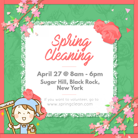 Spring Cleaning Event Volunteering Ad Instagram Image template