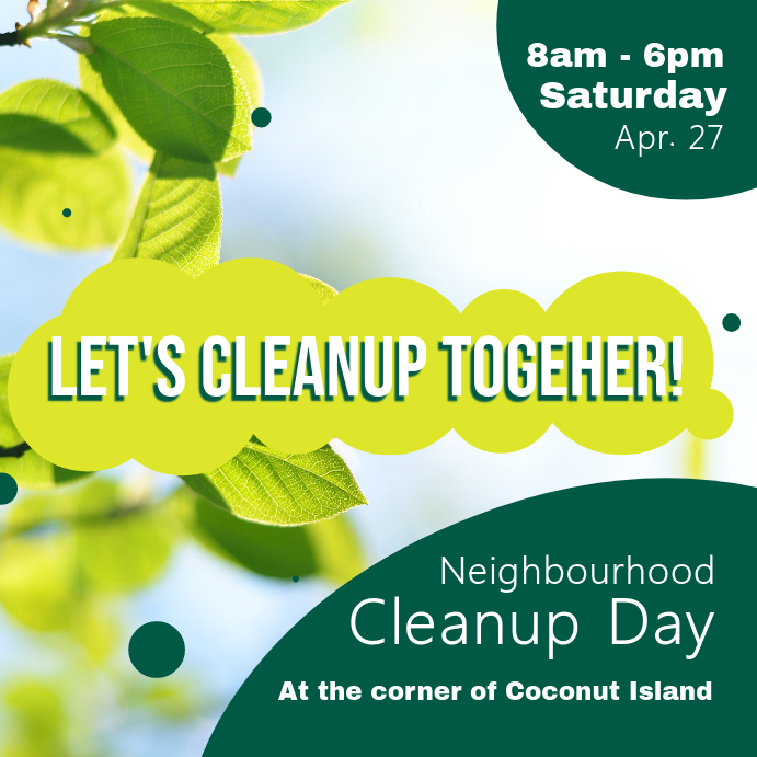 Spring Cleaning Neighbourhood Cleanup Day Instagram Image Wpis na Instagrama template