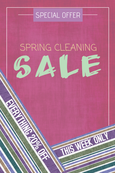 spring cleaning sale pastel portrait poster template