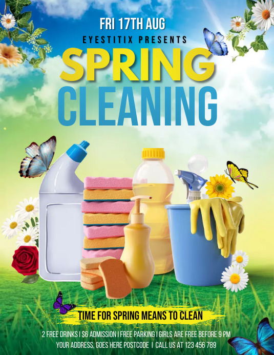 spring cleaning services, cleaning Flyer (US Letter) template
