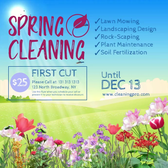 Spring Cleaning Services Instagram-opslag template