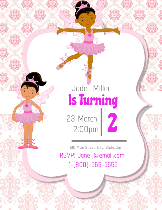 Ballerina Birthday Party Invitation Template