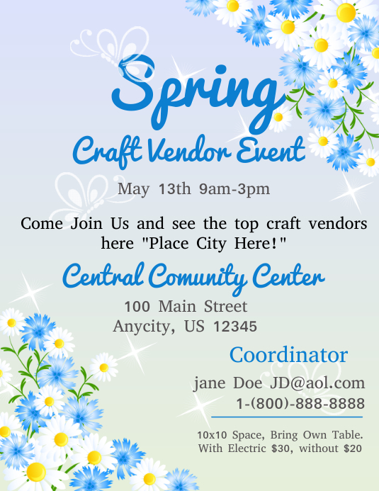 Spring Craft Vendor Event Template Postermywall