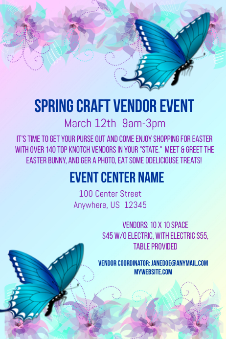 Spring Craft Vendor Event Flyer Template | PosterMyWall