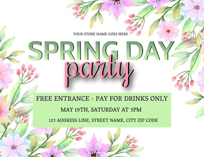 SPRING DAY PARTY Event Flyer Template Volante (Carta US)