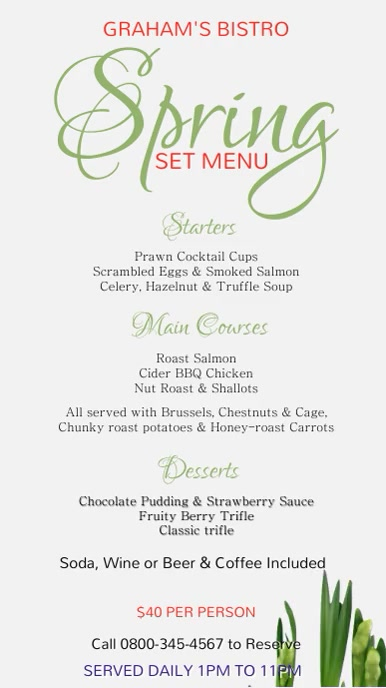 Spring Digital Menu Template