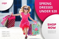 Spring dresses new arrivals shop now banner template
