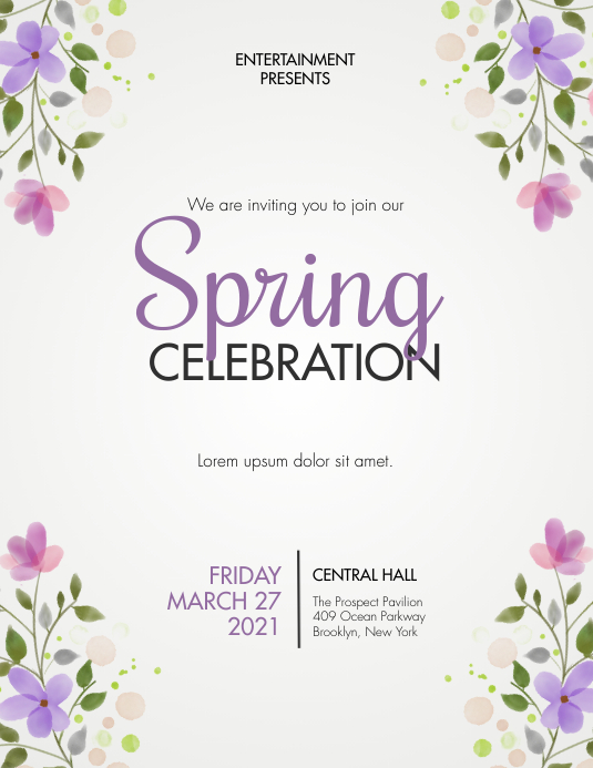 Spring Event Flyer Invitation Template Volante (Carta US)